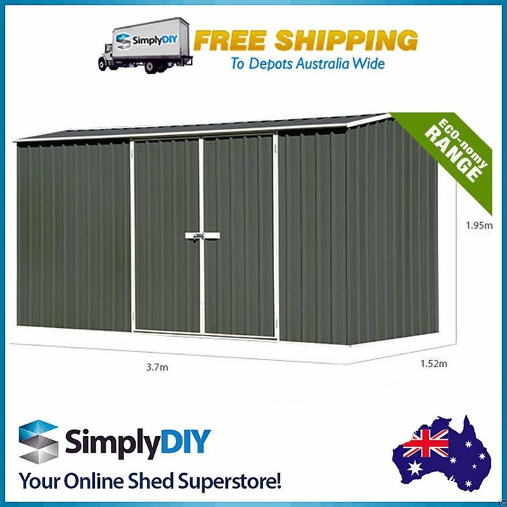 ABSCO ECO RANGE 3.74m x 1.52m GARDEN SHED DOUBLE DOOR PREMIER STORAGE GREY COLOR