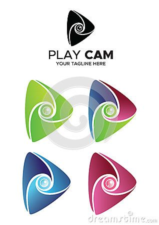 Play cam logo with 4 different colour style