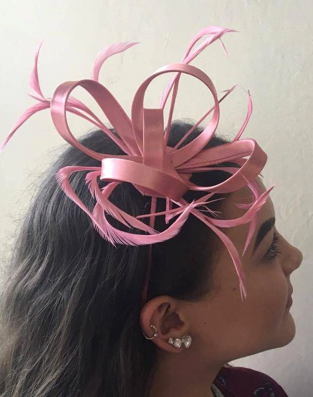 b2d8bb4f5682c Light Rose Dusky Pink feather Coiled fascinator Hair band Headband Wedding  Party Light Rose Pink Coiled