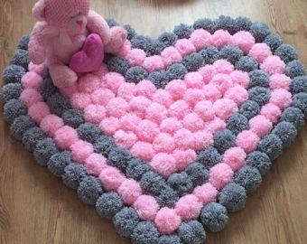 Round and fluffy Pom Pom rug by Kpompommakes on Etsy