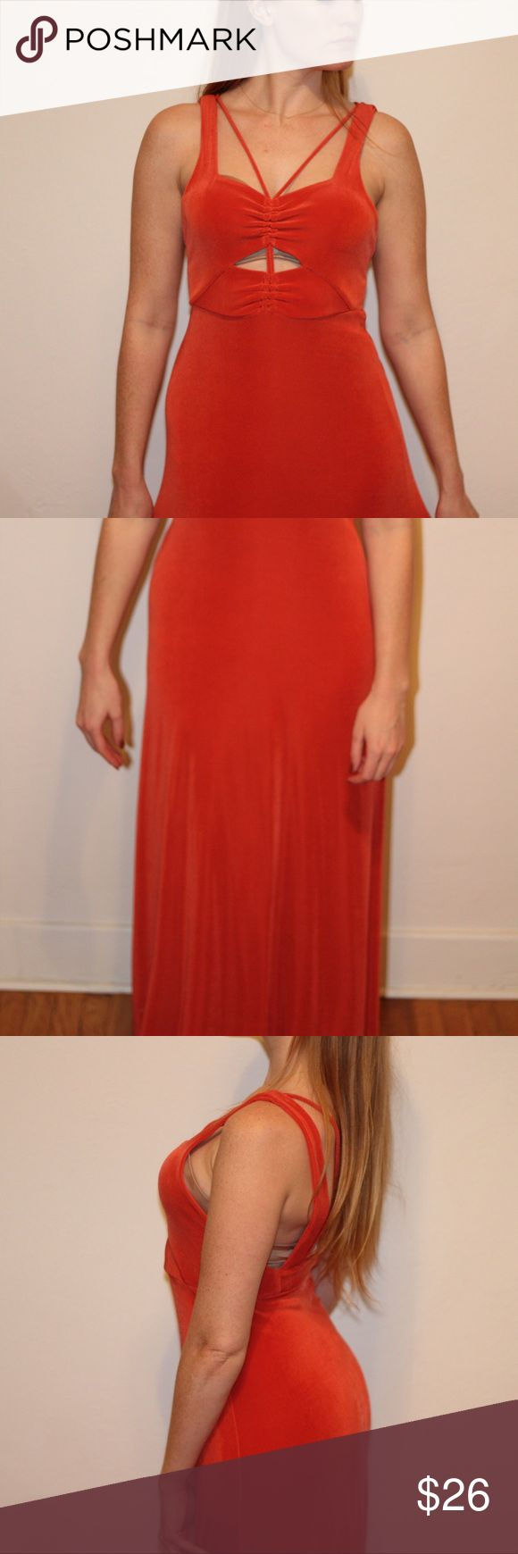 Free People Orange Maxi Dress Never worn, excellent condition, size XS maxi dress with front cutout Free People Dresses Maxi
