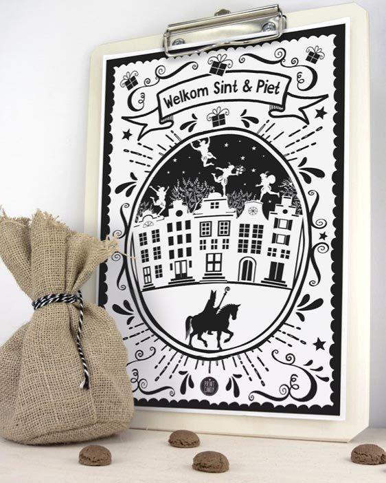 Sint Printable Welkom Poster - Gratis sinterklaas printables van Printcandy - 5 december knutselen - Sint en Piet - Sinterklaas 2017