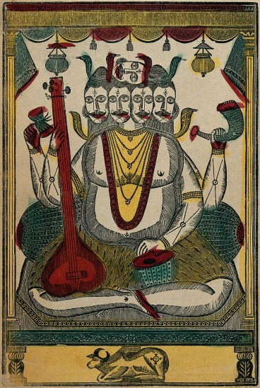 Five-headed Shiva playing musical instruments