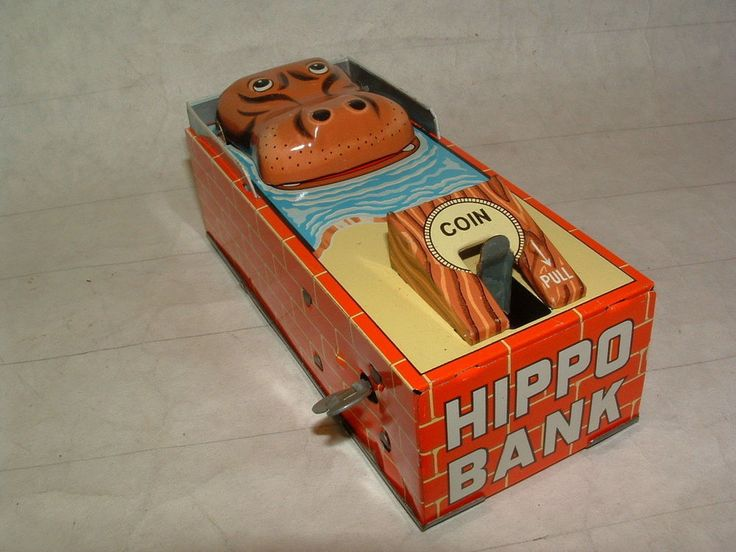 1960s TIN-LITHO HIPPO COIN BANK KEY-WIND UP 6 IN. LONG MADE IN JAPAN MINT