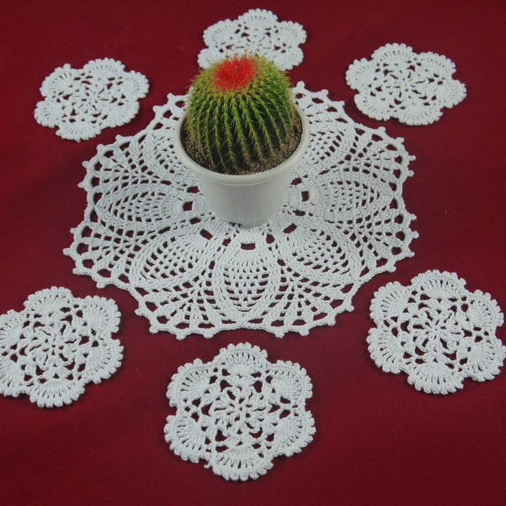 Set OF 7 Piece Handmade Crocheted Doilies coasters Mat&Pad Christmas decoration #Handmade