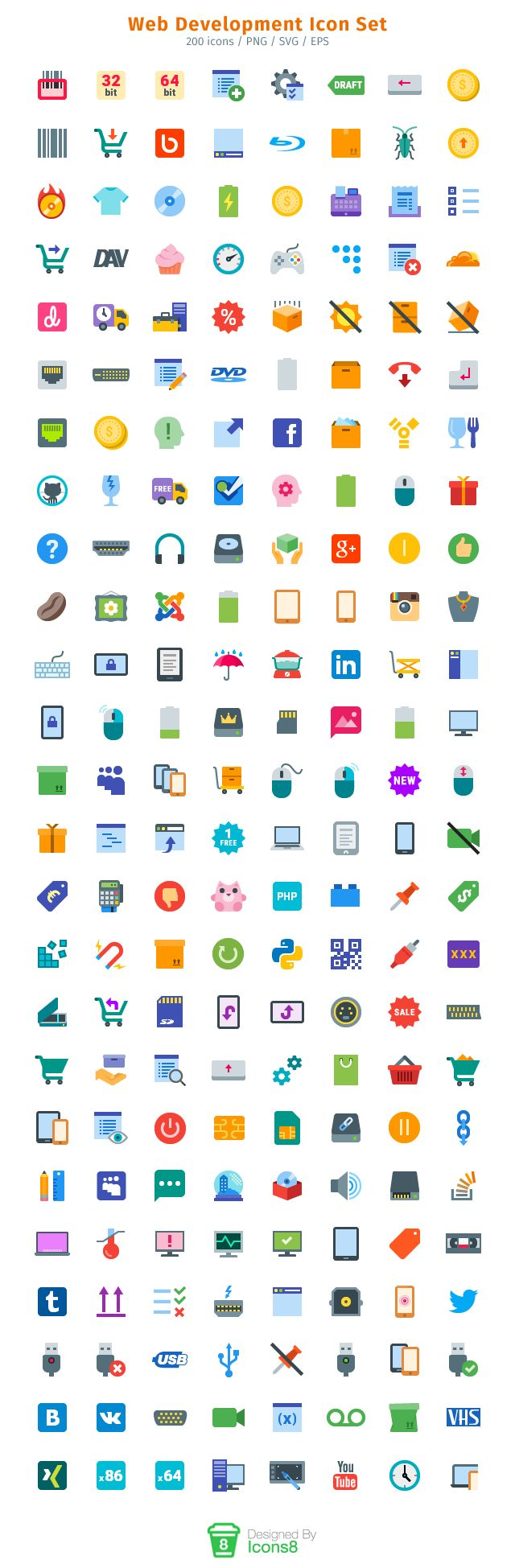 web development icon set there are 200 beautiful icons in this icon set the