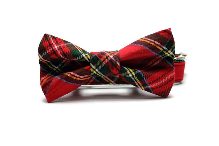Product Info Red and Green Tartan Plaid Dog Collar and Removable Bow Tie Set by Four Black Paws. All Four Black Paws collars, accessories and leads are handmade