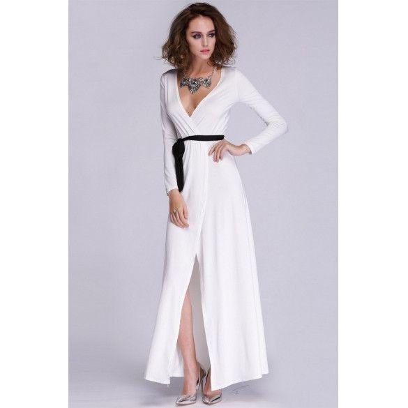 Fashion Lady Womens Casual Party Long Sleeve V-neck Splitting Sexy Long Dress
