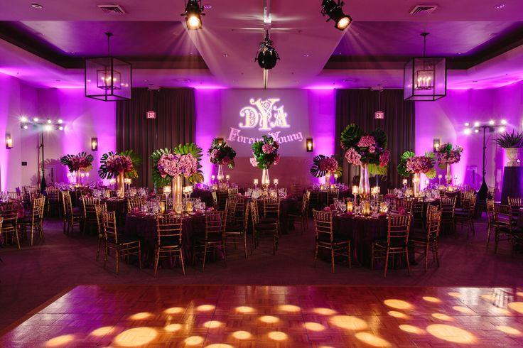 Ace Young + Diana DeGarmo | Luxe Hotel Sunset Blvd | Brian Leahy Photography #wedding #uplights #purple #pinspot #centerpiece #dancefloor #gobo #polkadot #colorwash #lighting #americanidolwedding