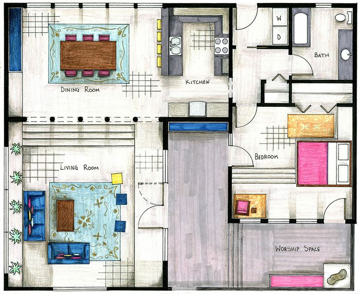 Sharon Mattingly, hand-rendered floor plan.