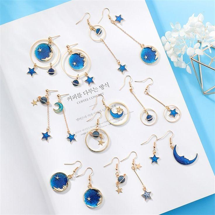 Espaço azul japonês universo estrela lua brincos planeta jóias assimétricas brinco senhoras presentes de natal   – Products