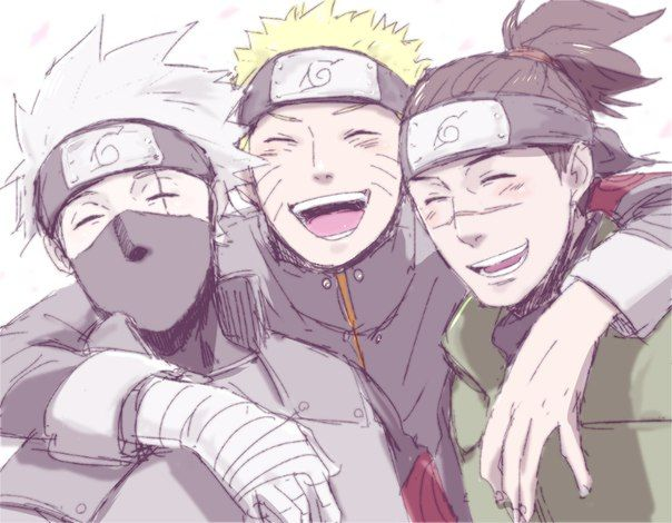Kakashi, Naruto and Iruka. They all look so happy together...