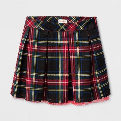 Cat & Jack Girls' Pleated Plaid A-Line Skirts Black