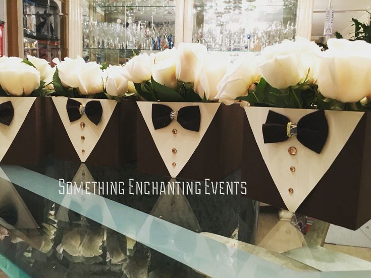 Bow tie flower box centerpieces