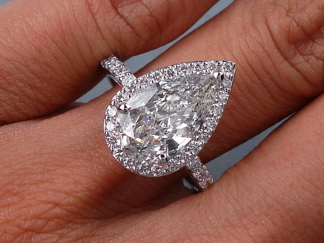 Pear Shape Diamond Engagement Ring 4 62ct Egl By Blueriver47