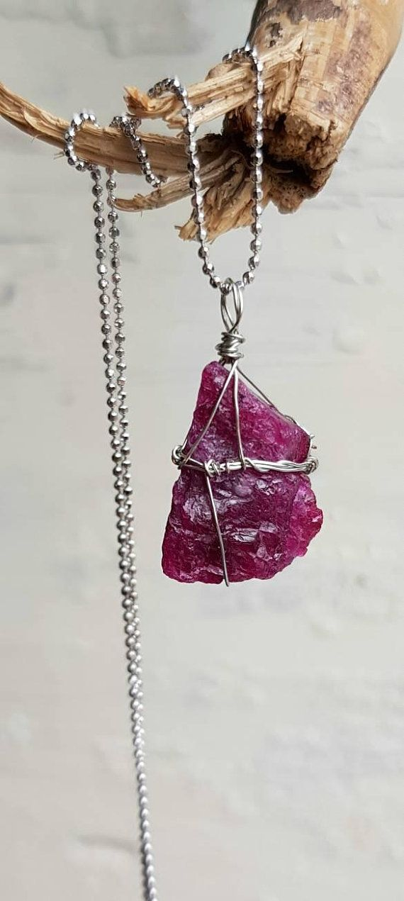Raw Ruby July Birthstone Genuine Ruby Ruby Bracelet Gift for Her Raw Ruby Necklace Red Ruby Jewelry Wife Boho Wedding