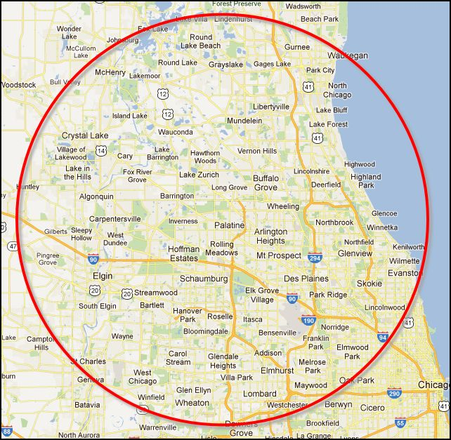 Chicago South West Suburbs Map  Hwy Crystal Lake Il