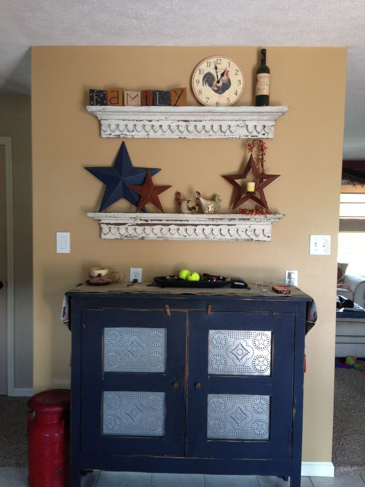 Took old top window crown molding from an old farmhouse and made them into awesome shelves!