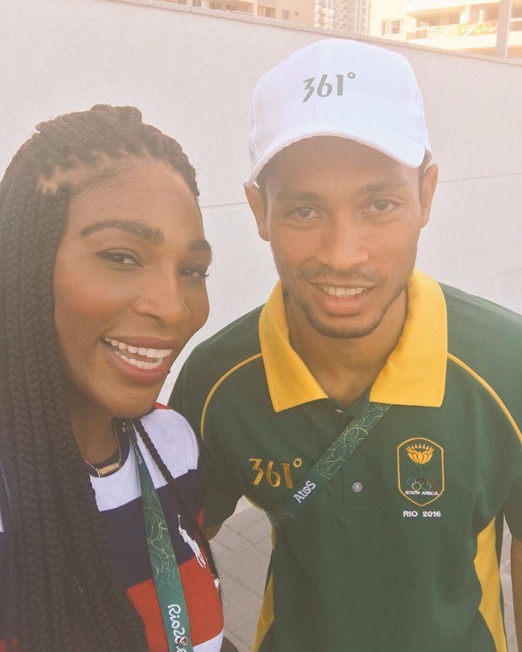 Serena Williams with Wayde van Niekerk at the Olympics Opening Ceremony. Both…