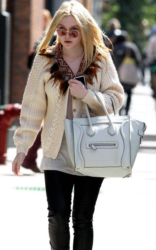Dakota-Fanning-Celine-bag-Isabel-Marant-white-canvas-taupe-Suede ...