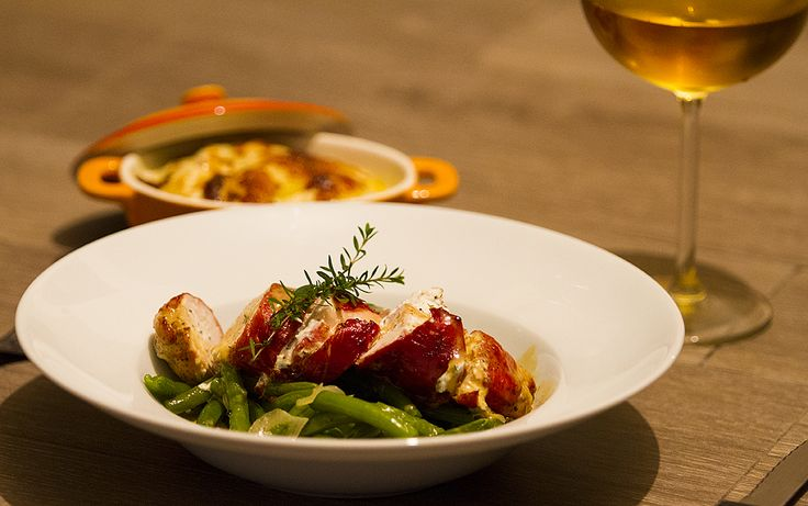 Ricotta sage stuffed chicken breasts, French beans & gratin dauphinois