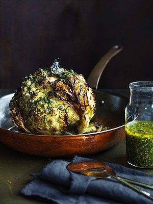 Whole roasted cauliflower with lemon and mustard.  neil perry
