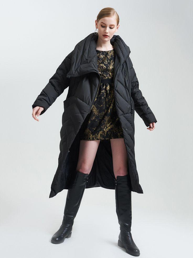 Elegant Long Sleeves Irregular Hem Duck Down Coats - Newchic Plus Size Outerwear