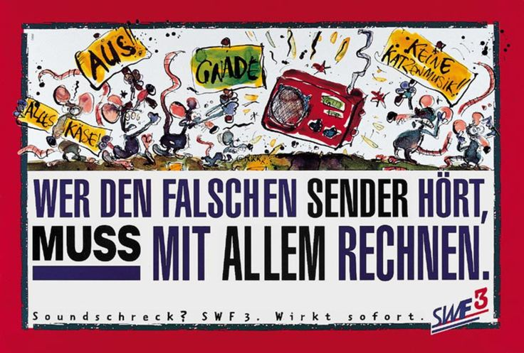 """Read more: https://www.luerzersarchive.com/en/magazine/print-detail/swf-3-5798.html SWF 3 If you listen to the wrong station, you have to be prepared for anything. (A German term for cacophony is """"Katzenmusik"""" which translates literally as """"cat music"""". Hence the picketing mice in the visual.) Poster campaign for a German pop music station. Tags: Ogilvy & Mather, Frankfurt am Main,Andre Aimaq,Judith Heinz,Dietmar Reinhard,SWF 3,Hans de Kort"""