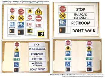 Four file folder activities teaching functional community signs!