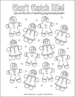 Christmas matching games for kids - free printable party games and activities - Christmas coloring pages - gingerbread man, gingerbread boy & girl