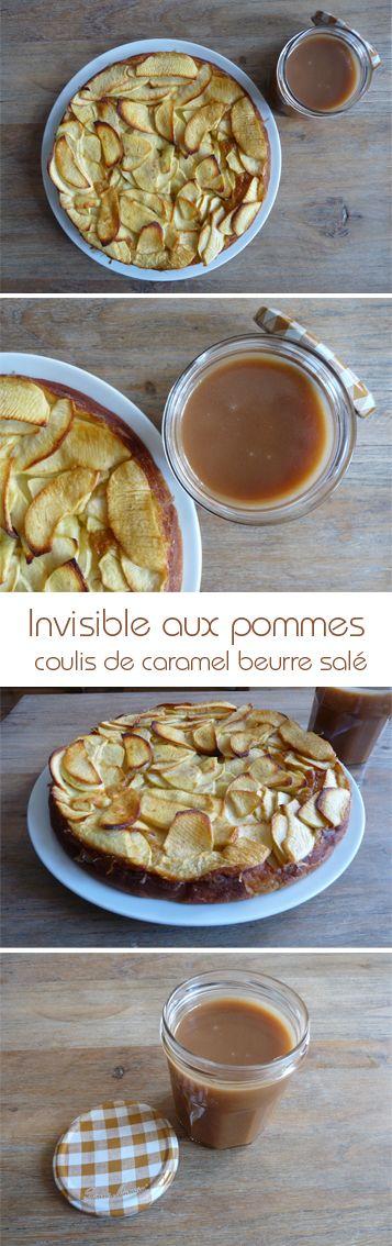 L'invisible aux pommes et son coulis de caramel beurre salé de mon amie Marine Cornut. La recette ici http://marinecornut.net/2014/07/26/invisible-aux-pommes/