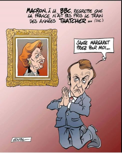 Macron regrette Margaret Thatcger