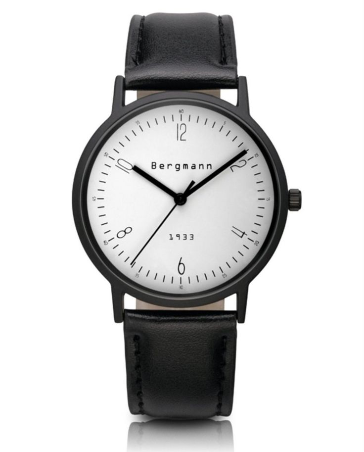56.40$  Watch now - http://alivyz.worldwells.pw/go.php?t=1603876958 - Brand Bergmann Bauhaus style Watch Mens Womens Classic Watches Casual White Dial Quartz Genuine Leather Reloj De Marca Gift