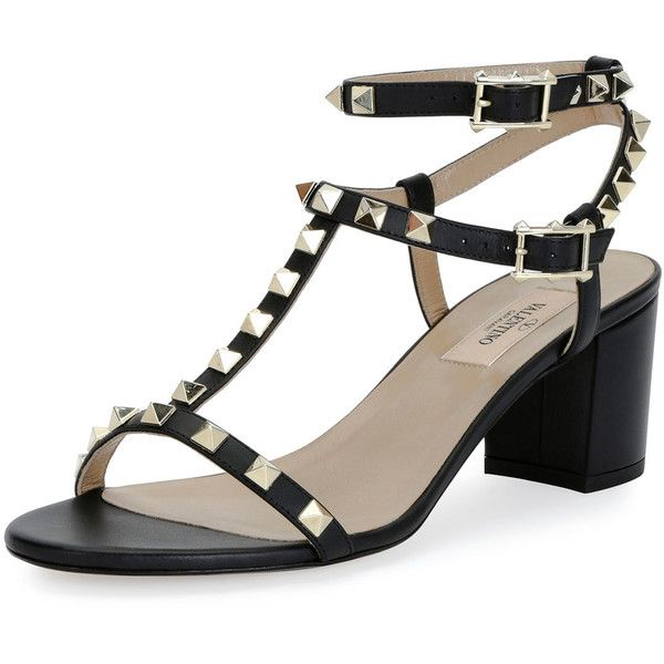 Valentino Rockstud T-Strap 60mm Sandal (920 CHF) ❤ liked on Polyvore featuring shoes, sandals, black, black ankle wrap sandals, t-strap sandals, block heel ankle strap sandals, valentino shoes and black open toe shoes