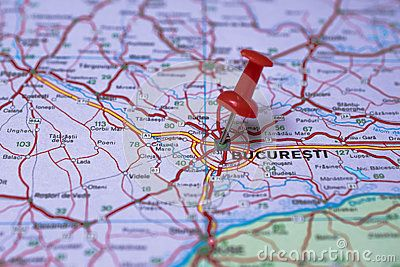 Bucharest on on a tourist map for travelling and red pushpin