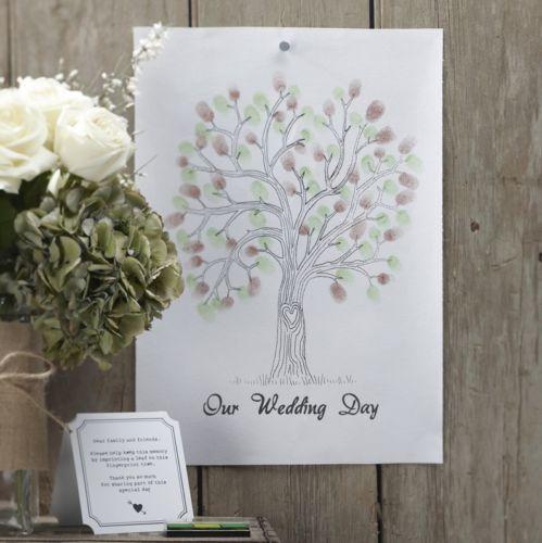 Fingerabdruck-Baum-auf-Leinwand-mit-Stempeln-in-Gruen-Braun-Gaestebuch-Hochzeit