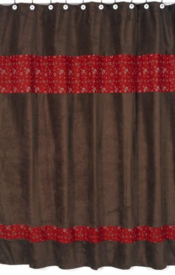 Wild West Cowboy Shower Curtain   Brown And Red Bandana Print   Sweet JoJo  Designs