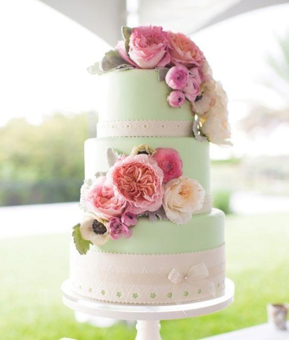 Mint Wedding Cake With Pink Flowers Via Laura Yang Photography Deer Pearl Flowers