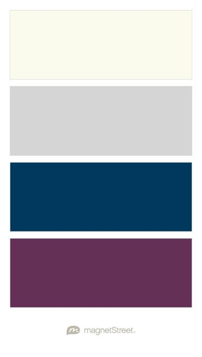 Ivory, Silver, Navy, and Eggplant Wedding Color Palette - custom color palette created at MagnetStreet.com
