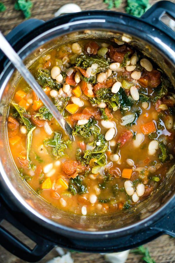 Vegan White Bean And Kale Soup Instant Pot Or Stove Recipe Bean And Vegetable Soup Kale And Bean Soup Kale Soup Recipes