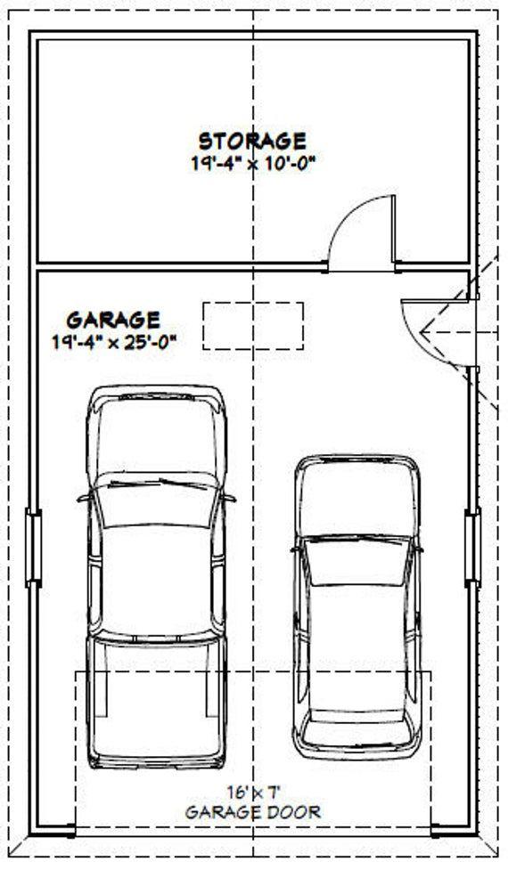 20x36 2 Car Garages 1128 Sq Ft 8ft Walls Pdf Floor Etsy Garage Plans Car Garage Double Garage Plans