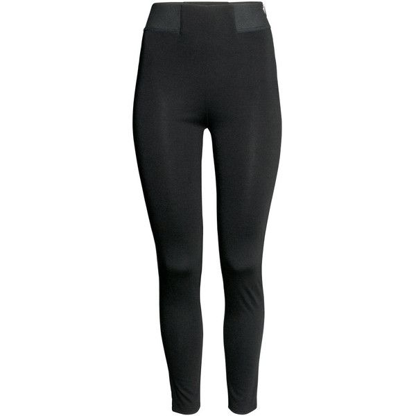H&M Jersey leggings High waist (14 CAD) ❤ liked on Polyvore featuring pants, leggings, black, jeans / pants / leggings, zipper leggings, high-waist trousers, wide-leg trousers, zip leggings and h&m leggings