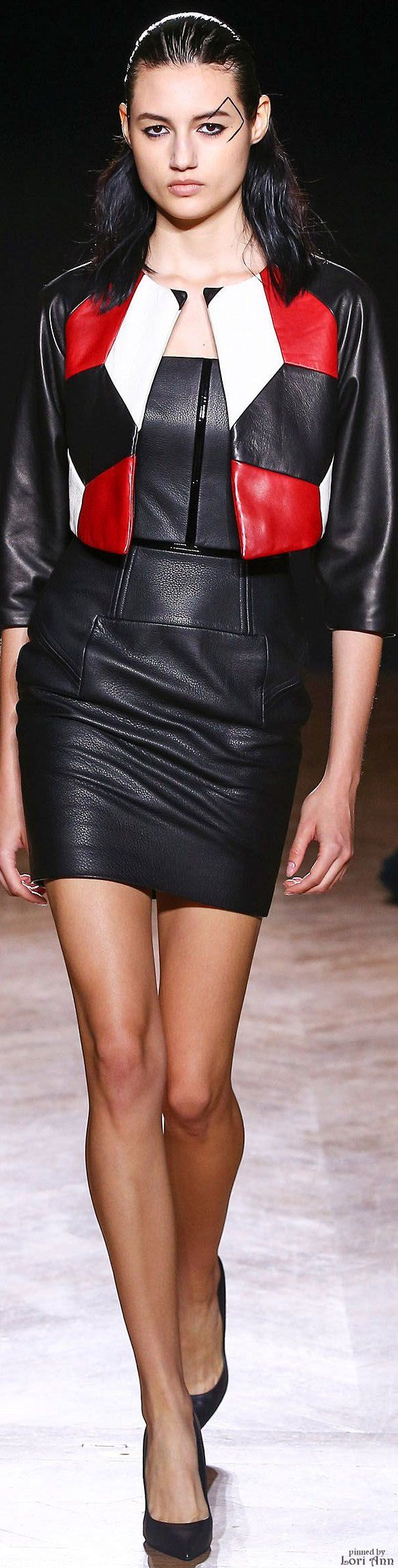 Didit Hediprasetyo ~ Couture Black Leather Mini Dress + Cropped Color-block Jacket,Fall 2015