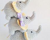 Handmade crochet amigurumi elephant family