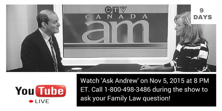 "Get your separation, divorce questions answered free, on ""Ask Andrew"" Nov 5 at 8pm ET."