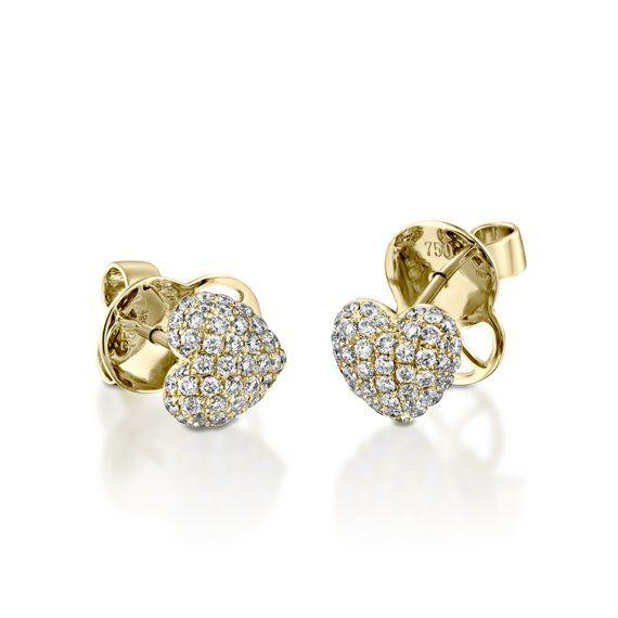 0 61 Carat Diamonds Heart Stud Earring In Sold Jewelry Earrings Etsymktgtool Heartearrings Naturalcerpave Diamondheartstud