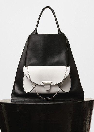 Medium Shopper Shoulder Bag in Black Shiny Smooth Calfskin with Pocket in White…