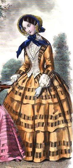 1851-52. Le Conseiller des dames et des demoiselles. Plaid as trim; plaid revers.