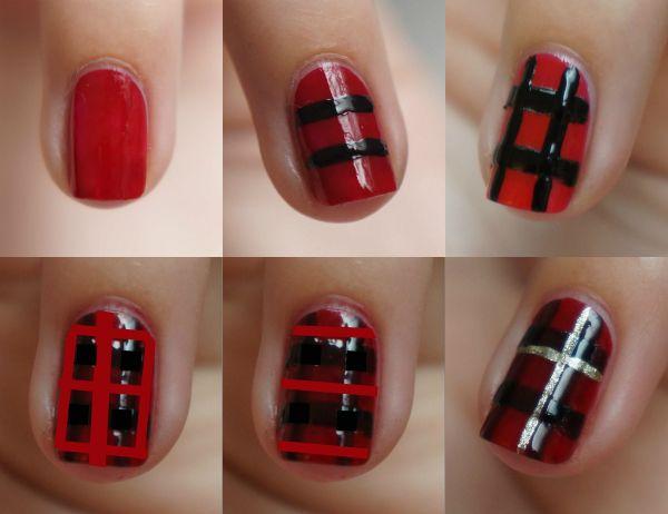Diy Nail Art Christmas Tartan Step By Step Beautyill Nails In
