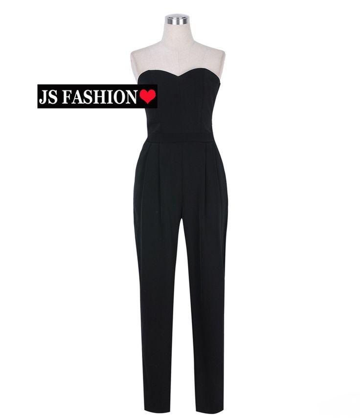 【楽天市場】セクシークール女神・ベアトップオールインワン・ジャンプスーツ・パーティードレス・結婚式・二次会・披露宴・ブラック・レッド・S/Mサイズ【150601】【JSファッション】【女子会】 【SS_SH】:JSファッション